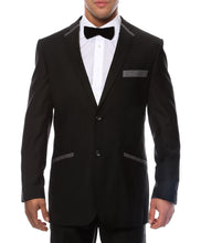 Load image into Gallery viewer, The JerseyBoy Black Grey Slim Fit Mens Blazer - Ferrecci USA