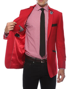 The JerseyBoy Red Black Slim Fit Mens Blazer - Ferrecci USA