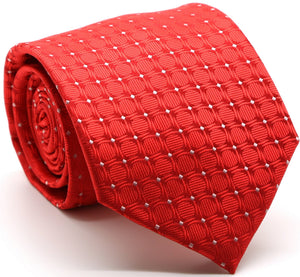Mens Dads Classic Red Geometric Pattern Business Casual Necktie & Hanky Set K-8 - Ferrecci USA