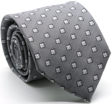 Load image into Gallery viewer, Mens Dads Classic Grey Geometric Pattern Business Casual Necktie & Hanky Set KO-3 - Ferrecci USA