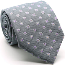 Load image into Gallery viewer, Mens Dads Classic Grey Geometric Pattern Business Casual Necktie & Hanky Set KO-5 - Ferrecci USA