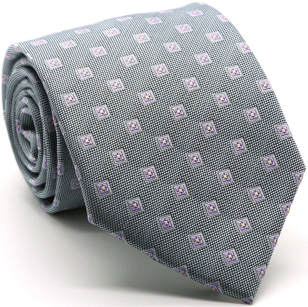 Mens Dads Classic Grey Geometric Pattern Business Casual Necktie & Hanky Set KO-5 - Ferrecci USA