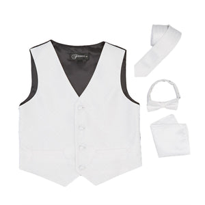 Premium Boys Off White Diamond Vest 300 Set - Ferrecci USA