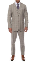 Load image into Gallery viewer, Lazio Taupe Plaid Design Notch Lapel Slim Fit Suit With Adjustable Vest - Ferrecci USA