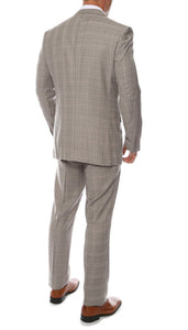 Lazio Taupe Plaid Design Notch Lapel Slim Fit Suit With Adjustable Vest - Ferrecci USA