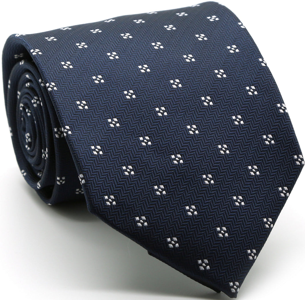 Mens Dads Classic Navy Geometric Pattern Business Casual Necktie & Hanky Set LO-8 - Ferrecci USA