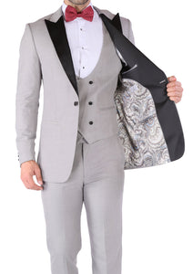 Ferrecci Luna 3 Piece Slim Fit Grey Peak Lapel Tuxedo - Ferrecci USA