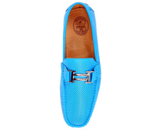 Load image into Gallery viewer, Men's Turquoise Perforated Smooth Driving  Moccasin/Loafers Shoes