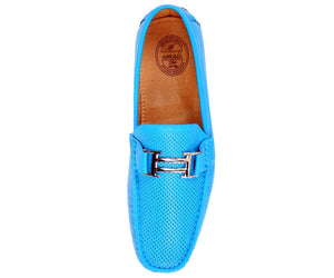 Men's Turquoise Perforated Smooth Driving  Moccasin/Loafers Shoes