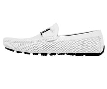 Load image into Gallery viewer, Men's White Perforated Smooth Driving  Moccasin/Loafers Shoes