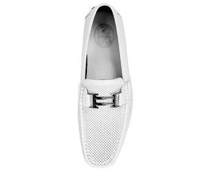 Men's White Perforated Smooth Driving  Moccasin/Loafers Shoes