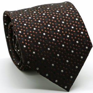 Mens Dads Classic Brown Dot Pattern Business Casual Necktie & Hanky Set M-2 - Ferrecci USA