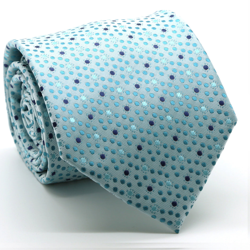 Mens Dads Classic Turquoise Dot Pattern Business Casual Necktie & Hanky Set M-4 - Ferrecci USA