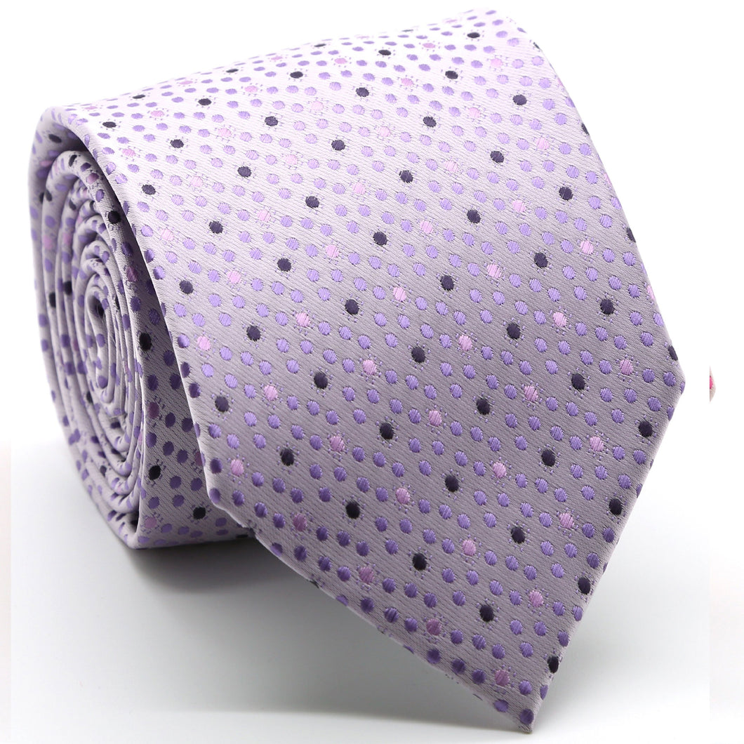 Mens Dads Classic Purple Dot Pattern Business Casual Necktie & Hanky Set M-7 - Ferrecci USA