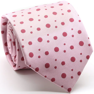 Mens Dads Classic Pink Circle Pattern Business Casual Necktie & Hanky Set MO-1 - Ferrecci USA