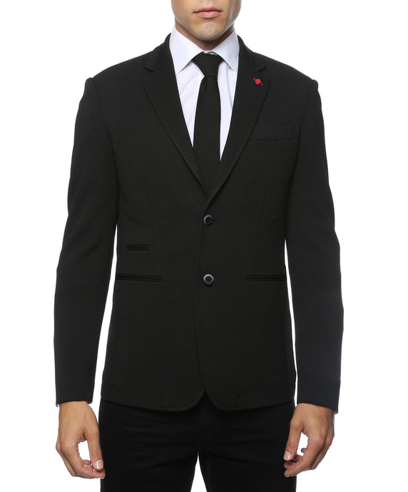 Modena Black Knit Slim Fit Blazer - Ferrecci USA