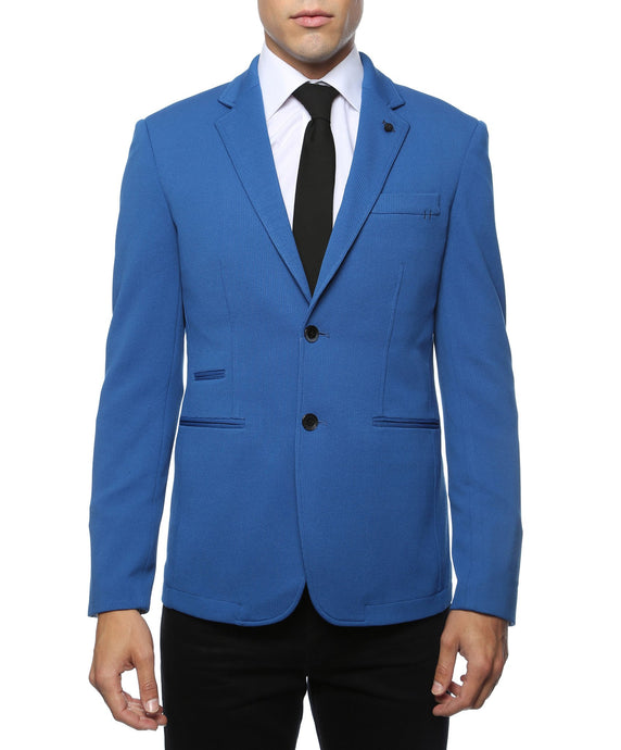 Modena Royal Blue Knit Slim Fit Blazer - Ferrecci USA