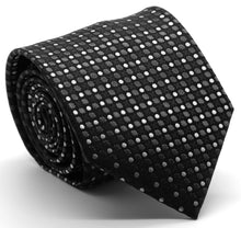 Load image into Gallery viewer, Mens Dads Classic Black Geometric Pattern Business Casual Necktie & Hanky Set P-5 - Ferrecci USA