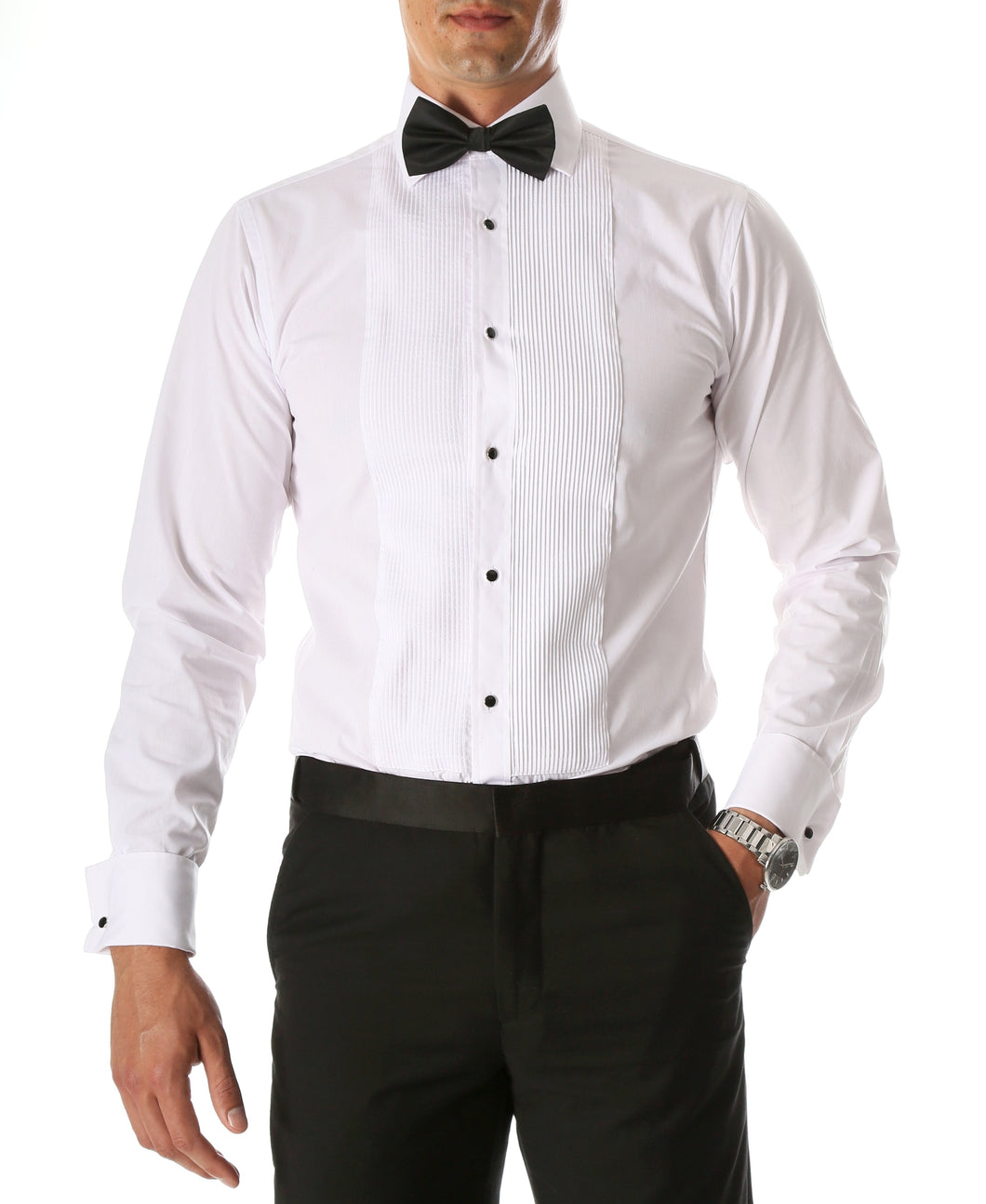 Ferrecci Men's Paris White Regular Fit Lay Down Collar Pleated Tuxedo Shirt - Ferrecci USA