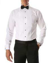 Load image into Gallery viewer, Ferrecci Men's Paris White Slim Fit Lay Down Collar Pleated Tuxedo Shirt - Ferrecci USA