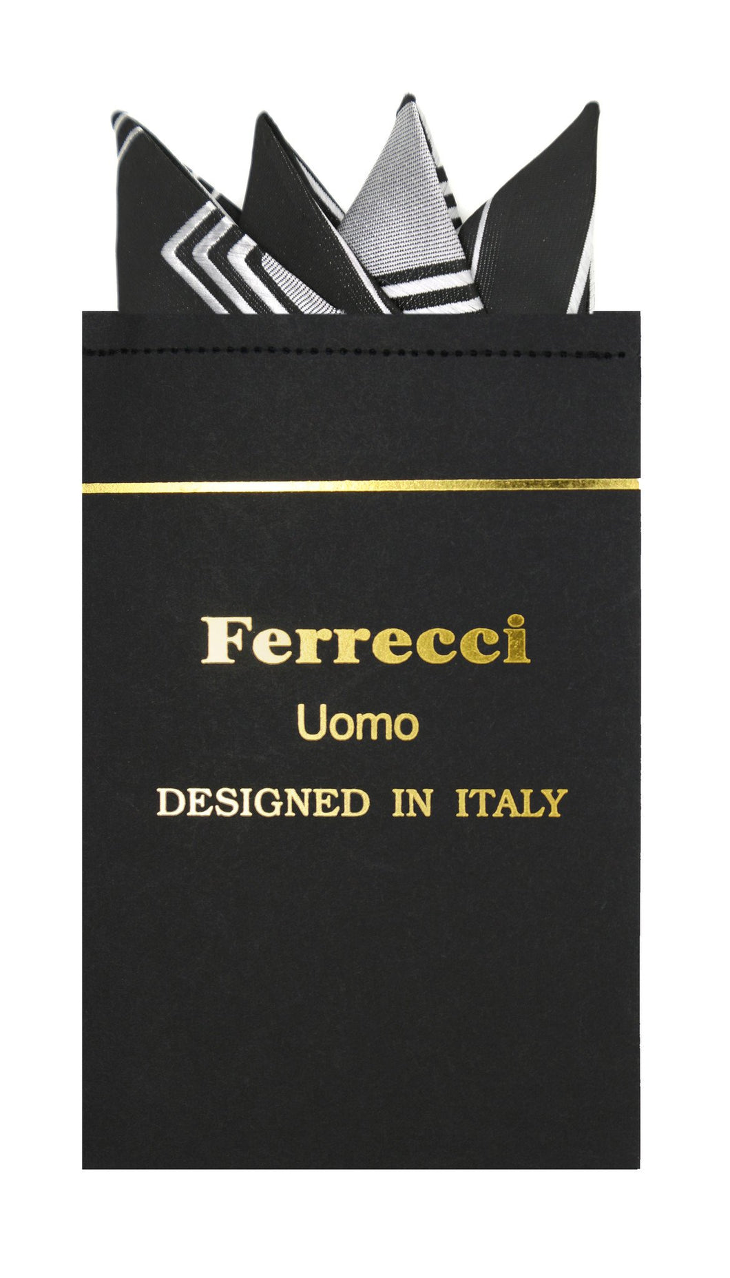 Pre-Folded Microfiber Black Grey Geometric Handkerchief Pocket Square - Ferrecci USA