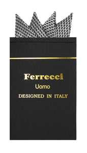 Pre-Folded Microfiber Black Silver Geometric Handkerchief Pocket Square - Ferrecci USA