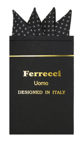 Pre-Folded Microfiber Black White Geometric Handkerchief Pocket Square - Ferrecci USA