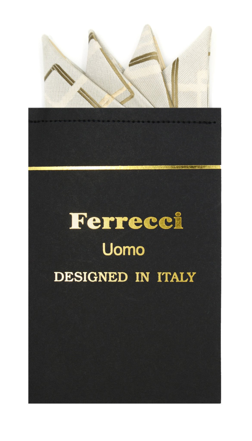 Pre-Folded Microfiber Olive Geometric Handkerchief Pocket Square - Ferrecci USA