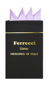 Pre-Folded Microfiber Light Lavender Handkerchief Pocket Square - Ferrecci USA