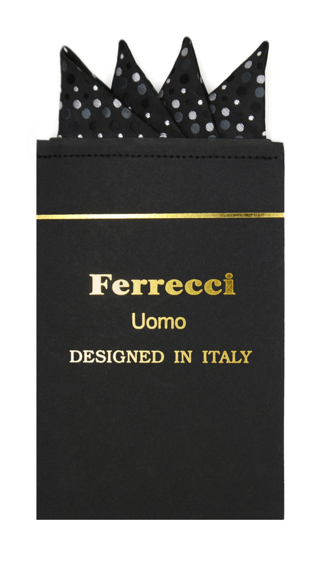 Pre-Folded Microfiber Black Polkadot Handkerchief Pocket Square - Ferrecci USA
