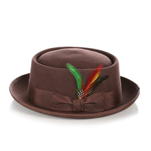 Load image into Gallery viewer, Brown Wool Pork Pie Hat - Ferrecci USA
