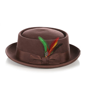 Brown Wool Pork Pie Hat - Ferrecci USA