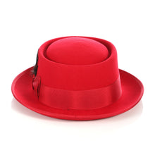 Load image into Gallery viewer, Red Wool Pork Pie Hat - Ferrecci USA