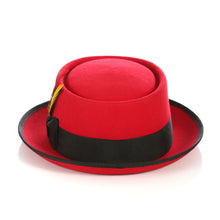 Load image into Gallery viewer, Red Black  Wool Pork Pie Hat - Ferrecci USA