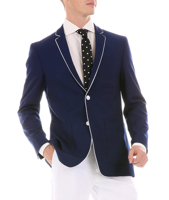 Mens Porter Navy Slim Fit Blazer - Ferrecci USA