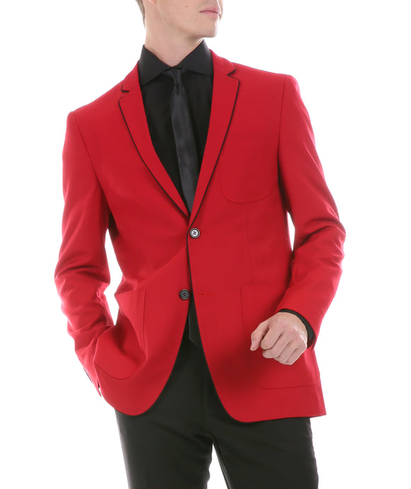 Mens Porter Red Slim Fit Blazer - Ferrecci USA