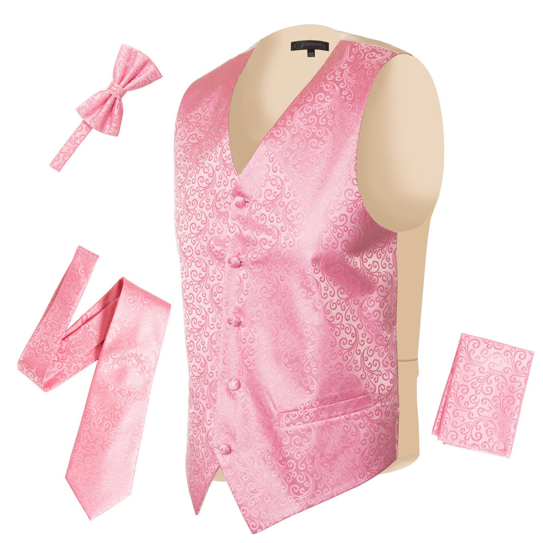Ferrecci Mens PV50-10 Pink Cream Vest Set - Ferrecci USA
