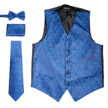 Load image into Gallery viewer, Ferrecci Mens PV50-3 Blue Black Vest Set - Ferrecci USA