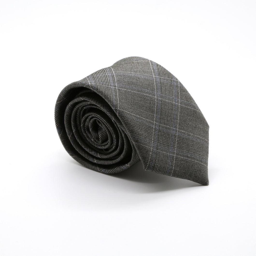 Slim Charcoal and Pink With Hint Of Sky Blue Plaid Neckties & Handkerchief - Ferrecci USA