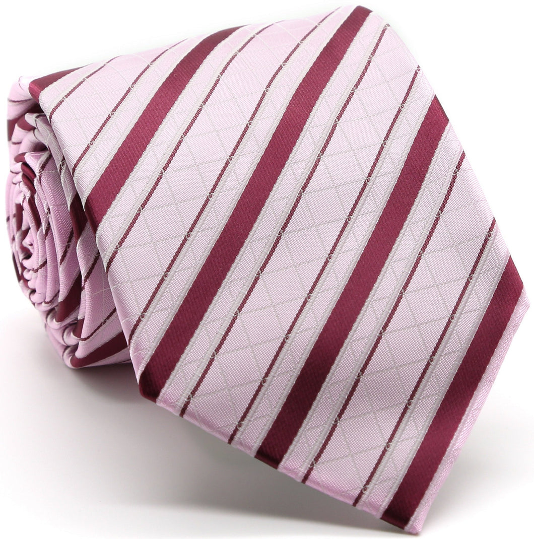 Mens Dads Classic Pink Striped Pattern Business Casual Necktie & Hanky Set Q-8 - Ferrecci USA