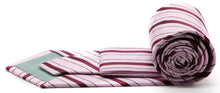 Load image into Gallery viewer, Mens Dads Classic Pink Striped Pattern Business Casual Necktie & Hanky Set Q-8 - Ferrecci USA