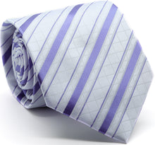 Load image into Gallery viewer, Mens Dads Classic Purple Striped Pattern Business Casual Necktie & Hanky Set Q-9 - Ferrecci USA