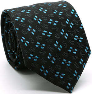 Mens Dads Classic Turquoise Geometric Pattern Business Casual Necktie & Hanky Set QO-6 - Ferrecci USA