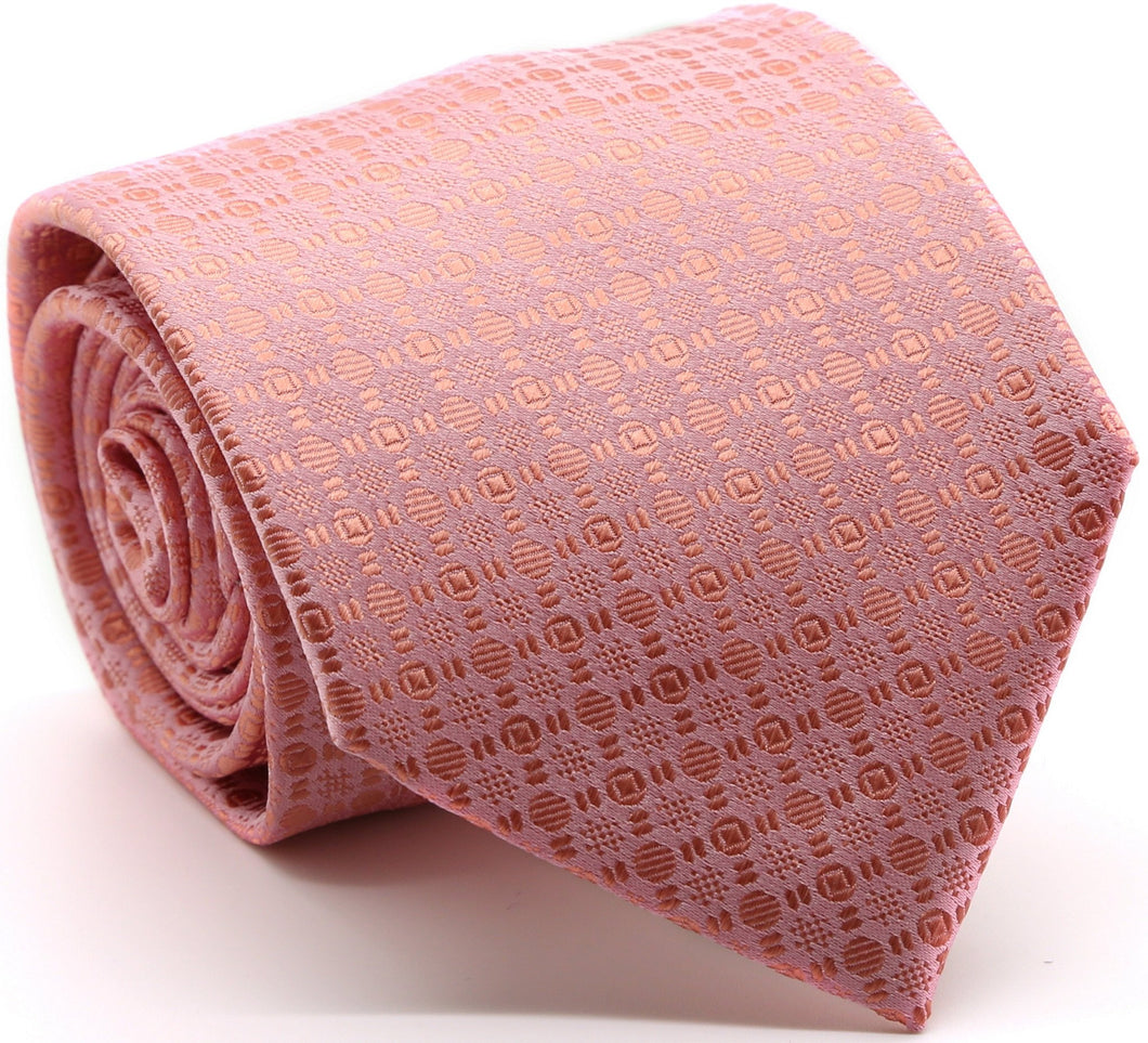 Mens Dads Classic Pink Geometric Pattern Business Casual Necktie & Hanky Set R-10 - Ferrecci USA