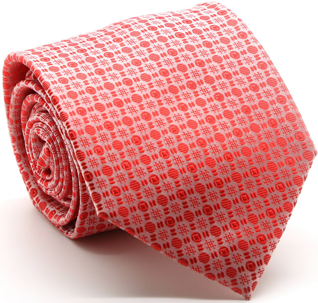 Mens Dads Classic Red Geometric Pattern Business Casual Necktie & Hanky Set R-13 - Ferrecci USA