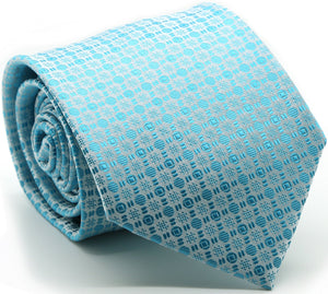 Mens Dads Classic Turquoise Geometric Pattern Business Casual Necktie & Hanky Set R-3 - Ferrecci USA