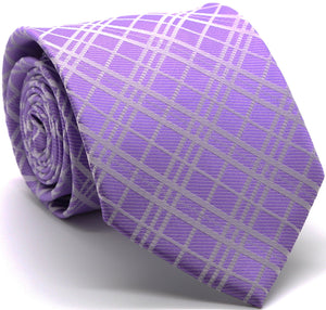 Mens Dads Classic Purple Striped Pattern Business Casual Necktie & Hanky Set RO-1 - Ferrecci USA
