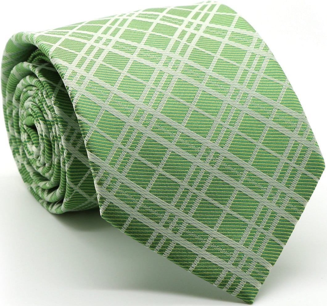 Mens Dads Classic Green Striped Pattern Business Casual Necktie & Hanky Set RO-3 - Ferrecci USA