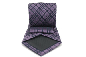 Mens Dads Classic Navy Striped Pattern Business Casual Necktie & Hanky Set RO-7 - Ferrecci USA