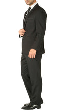 Load image into Gallery viewer, Rod Premium Black 2 Piece Wool Suit Stain Resistant Traveler Suit with 2 Pairs of Pants - Ferrecci USA